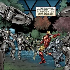 Iron Man and War Machine fight Hammer Drones.