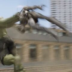 Hulk throwing a Chitauri soldier.