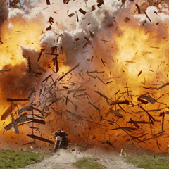 Logan escapes from an exploding barn