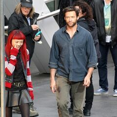 Rila Fukushima and Hugh Jackman on set.