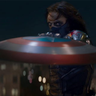 Winter Soldier stopping Cap's shield