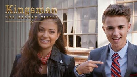 Kingsman The Golden Circle Jake Mitchell and Inanna Sarkis Attempt Kingsman Level Stunts