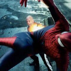 Aleksei shooting at Spider-Man.