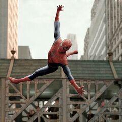 Spider-Man flying acrobatics.
