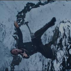 Bucky plummets into the frozen river.