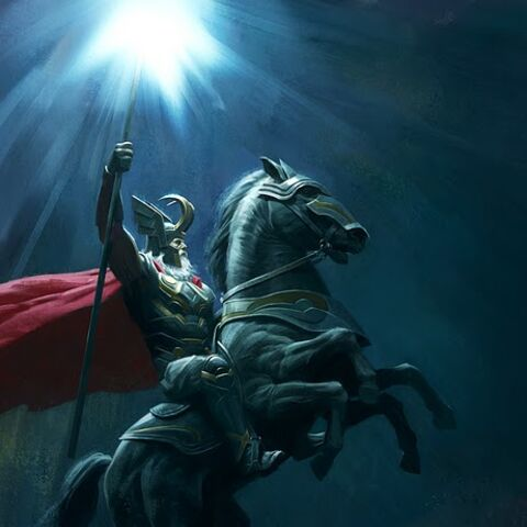 Concept art of Odin on Sleipnir
