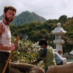 Logan helping clear a fallen tree in Nagasaki