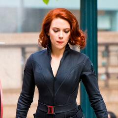 Scarlett Johansson on set as Black Widow.