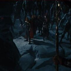 Thor and his companions confront Laufey.
