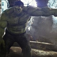 Hulk punches Thor.