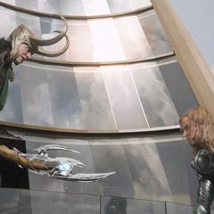 Loki prepares to kill Thor.