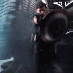 Bucky wielding Captain America's shield.