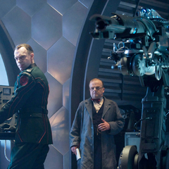 Johann Schmidt & Arnim Zola about to kill SS officers with HYDRA weapons.
