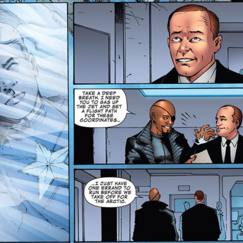 Fury tell Coulson they found Steve Rogers in the arctic.
