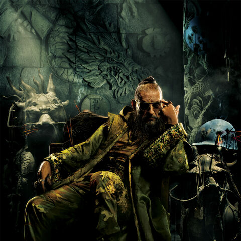 Trevor Slattery dressed as an idealized image of the Mandarin