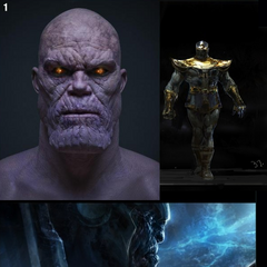 Three concept arts for Thanos.