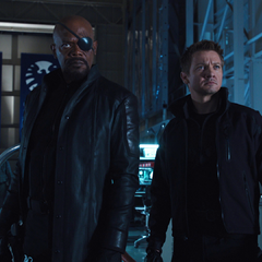 Clint Barton with director Nick Fury.