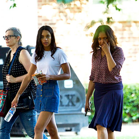 Laura Harrier and Garcelle Beauvais on set.