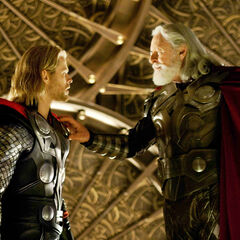 Odin is about to banish Thor to Earth.