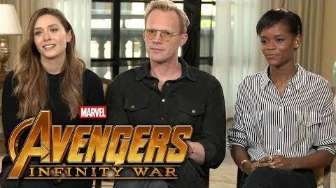 'Avengers Infinity War' Elizabeth Olsen, Paul Bettany and Letitia Wright (FULL INTERVIEW)