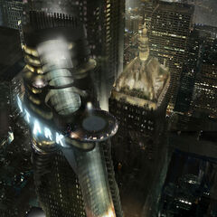 Concept art for the Stark Tower.
