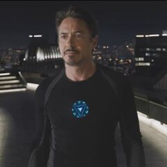 Tony Stark on the roof of Stark Tower.