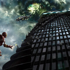 Concept art of Stark Tower, featuring Thor and Iron Man battling the Chitauri.