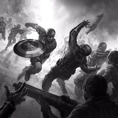 Concept art of Captain America engaging in battle against Hydra soldiers.