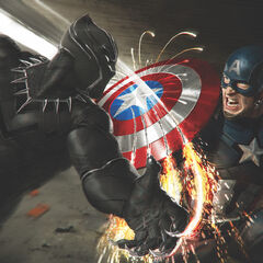 Black Panther's Vibranium claws hitting Captain America's shield.