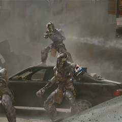 The Chitauri fighting against Thor and Captain America.