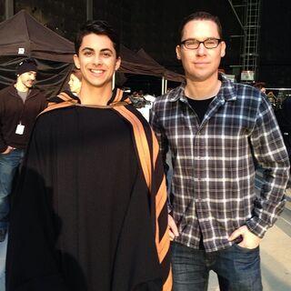 Brendan Pedder with director Bryan Singer on set.