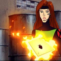 Jean notices Gambit's card.