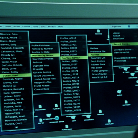A list of mutants on Stryker's computer. Creed's name is 9th from the top.