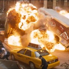 The Chitauri blow up a Dr. Pepper truck.