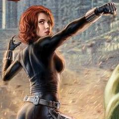 Black Widow in Avengers Promo Art.