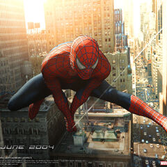 Spidey webslinging through the city.