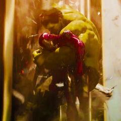 Hulk saving Iron Man.