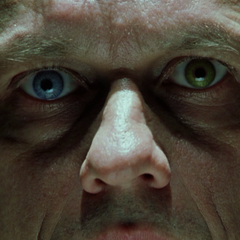 Jason Stryker's dual-colored eyes