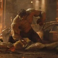 Abomination lay defeated before Hulk.