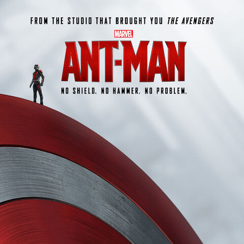Ant-Man Promotional poster featuring Captain America's Shield.
