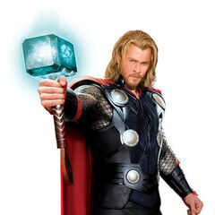 Concept Art of Chris Hensworth as Thor with Mjolnir.