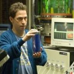 Doctor Sterns holding the Gamma irradiated version of the Super Soldier Serum