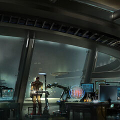 Stark Tower concept art, featuring Tony Stark.