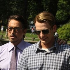 Robert Downey Jr.'s Tony Stark on set with Chris Evans' Steve Rogers.