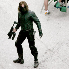 The Winter Soldier on set.