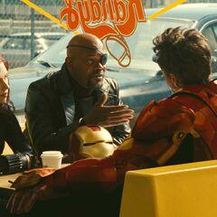 Natasha with Nick Fury and Tony Stark.