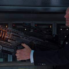 Agent Coulson holding Coulson's Revenge.