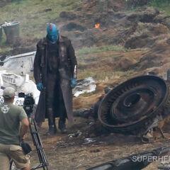 Rooker on set