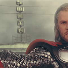 Thor with his Mjolnir.