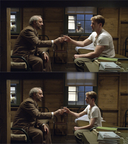Chris Evans as pre-serum Steve Rogers before (top) and after (bottom) he was visually reduced.